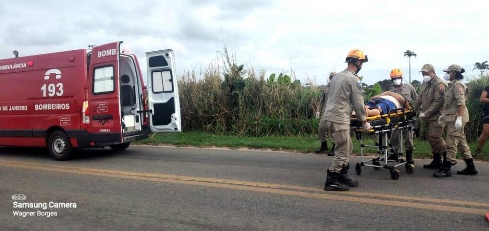 Motociclista ferido em acidente na BR 356 em SJB